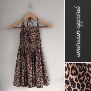 American Apparel Leopard Cheetah Halter Mini Dress